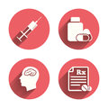 Medicine Icons. Tablets Bottle, Brain, Rx Stock Photography - 61033322