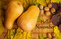 Words Hello November On Rustic Background Stock Photo - 61034740