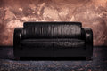 Old Black Leather Couch Royalty Free Stock Photo - 61036965