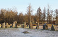 The Big Stones Standing In The Snow Field In Winter Royalty Free Stock Photos - 61037308
