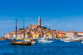 Panoramic View On Old Town Rovinj From Harbor. Istria Peninsula, Croatia Royalty Free Stock Photo - 61043635