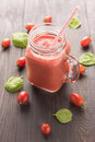 Healthy Vegetable. Glass Of Red Tomato Juice On Wooden Table Royalty Free Stock Image - 61049696