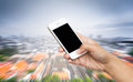 Woman Hand Hold Smart Phone,cellphone On Blurred Landscape Royalty Free Stock Images - 61054699