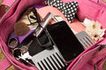 Womans Purse Pink Color Open From Above With Royalty Free Stock Image - 61059426