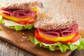Healthy Salami Sandwich With Tomato Pepper And Lettuce Royalty Free Stock Photography - 61062687