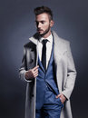 Handsome Stylish Man In Autumn Coat Royalty Free Stock Photography - 61077557