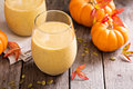 Healthy Pumpkin Smoothie With Chia Seed In Glasses Royalty Free Stock Image - 61088866