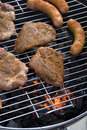 Sausages And Hamburgers On Barbecue Royalty Free Stock Photos - 6119138