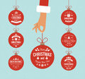 Flat Hand Holding Christmas Ball. Royalty Free Stock Images - 61109849