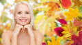 Beautiful Young Woman Face Over Autumn Leaves Stock Photography - 61113282
