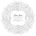 Black And White Hand Drawn Floral Doodle Frame. Royalty Free Stock Photo - 61114725