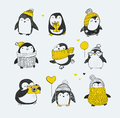 Cute Hand Drawn Penguins Set - Merry Christmas Greetings Royalty Free Stock Image - 61117206