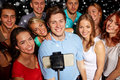 Friends With Smartphone Taking Selfie In Club Stock Image - 61121051