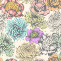 Flowers. Seamless Pattern. Pencil Drawing. Stock Photos - 61122283