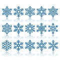 Black Flat Snowflakes Icons With Reflection  On White Royalty Free Stock Image - 61124456