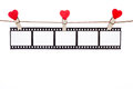 Heart  Shape Clip On A  Twine, Hanging Negatives, Love Movie Royalty Free Stock Image - 61125776