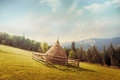 Hay Stack On Meadow At Suuny Morning Royalty Free Stock Photo - 61127155