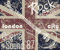T-shirt Printing Design, Typography Graphics, London Rock Festival Vector Illustration With  Grunge Flag And Hand Drawn Sketch Gu Royalty Free Stock Photo - 61129165