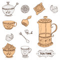 Tea Time Still Life Set, Sketch, Doodle, Hand Draw. Royalty Free Stock Photo - 61138155