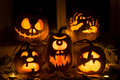 Photo Composition From Five Pumpkins For Halloween. Stock Image - 61138531