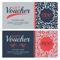 Vector Gift Voucher With Flourish Ornament Background. Royalty Free Stock Photography - 61146497