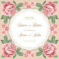 Vintage Wedding Invitation With Roses Stock Images - 61156904