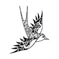 Hand Drawn Tribal Swallow, Bird Totem For Adult Coloring Page Or Royalty Free Stock Images - 61159709