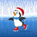 Cute Cartoon Penguin Doing Ice Skating With Winter Background Stock Images - 61163324