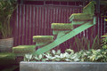 Green Grass Staircase In Garden, Interior Decoration Royalty Free Stock Photography - 61178257