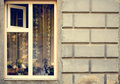 Old Wooden Windows Frame On Cement Cracked Wall Royalty Free Stock Images - 61179099