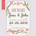 Vector  Save The Date Card  With Hand Drawn Vintage Daisy Flowers In Rustic Style Royalty Free Stock Images - 61186649