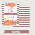 Vector  Save The Date Card  With Hand Drawn Vintage Daisy Flower In Rustic Style And Lettering. Stock Photos - 61189733