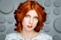 Red-haired Girl Face Stock Image - 61191561