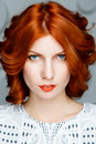 Red-haired Girl Face Stock Image - 61191571