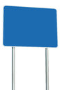 Blank Blue Road Sign Isolated Large Perspective Copy Space White Frame Roadside Signpost Signboard Pole Post Empty Traffic Signage Royalty Free Stock Images - 61200909