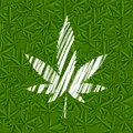 White Grunge Cannabis Leaf On Green Pattern Royalty Free Stock Photos - 61205808