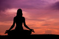 Silhouette Of A Beautiful Yoga Woman Royalty Free Stock Photo - 61207585