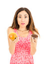 Confused Diet Woman Royalty Free Stock Image - 61209266