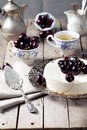 Cheesecake With Cherries On A Wooden Table. Royalty Free Stock Image - 61214096