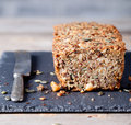 Wholegrain Bread With Seeds On A Stone Plate Royalty Free Stock Photo - 61214845