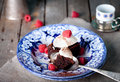 Brownies With Raspberry On A Wooden Background. Royalty Free Stock Images - 61215329