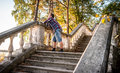 Man Dreaming On Stairs N Forest Stock Image - 61219241