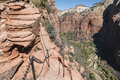 Cliffside Hand Chain On Angels Landing In Zion National Park Stock Photo - 61232170