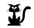 Halloween Black Cat Vector Silhouette. Cartoon Clipart Illustration Isolated On White Background Royalty Free Stock Photos - 61240048