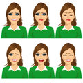 Set Of Female Avatar Expressions Stock Images - 61240484