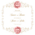 Vintage Wedding Invitation With Roses Stock Photography - 61250732
