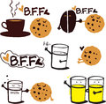BFF  Tasty Cookies With Drinks Stock Image - 61254811