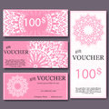 Gift Voucher Template With Mandala. Design Certificate For Sport Center, Magazine Or Etc. Vector Gift Coupon With Ornament On Back Royalty Free Stock Photo - 61265005