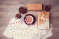 Merry Christmas Creative Still Life With Gift Boxes And Cup Of Chocolate. View From Above Royalty Free Stock Photo - 61269815