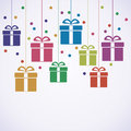 Vector Hanging Gift Boxes Royalty Free Stock Image - 61269926